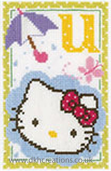 Hello Kitty Alphabet Letter U Cross Stitch Kit